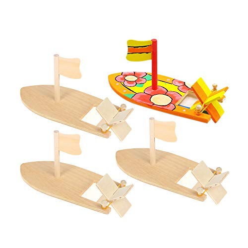 6 Pack DIY Wood Boat Model Wooden Sailboat Craft Wooden Boat Model Kits to Build Rubber Band Paddle Boat Toys for Kids Children Handmade DIY Craft Gift School Projects