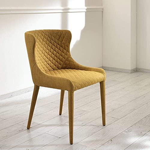 Silla modelo AFRODITE de tela con costuras de diamante y estructura de metal, diseño 100% italiano (amarillo)