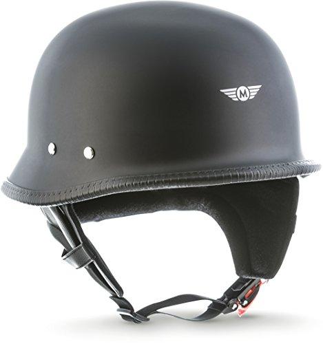 """Moto Helmets® D33 """"Matt Black"""" · Brain-Cap · Halbschale Jet-Helm Motorrad-Helm Roller-Helm Scooter-Helm Bobber Mofa-Helm Chopper Retro Cruiser Vintage Pilot · Schnellverschluss Tasche XL (61-62cm)"""