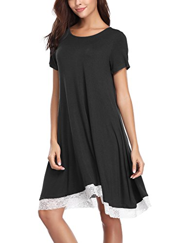 Aibrou Damen Baumwolle Nachthemd Rundhals Kurzarm Nachtkleid Sleepwear mit Spitzensaum (S-XXL) Schwarz XL