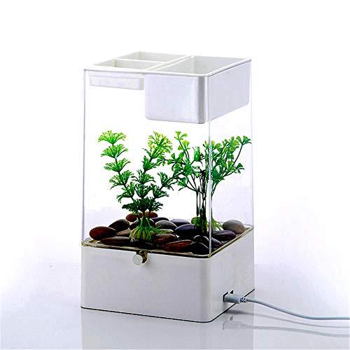 FDSFD Wiederaufladbarer USB-Aquarium - quadratisches Tischaquarium, mit selbstreinigender wasserfreier Funktion und LED-Beleuchtung, weiches TPR-Material, stoßfest, energiesparend, weiß
