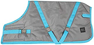 ZEEZ Supreme Dog Coat Size 18 (46cm), Platinum Silver/Turquoise