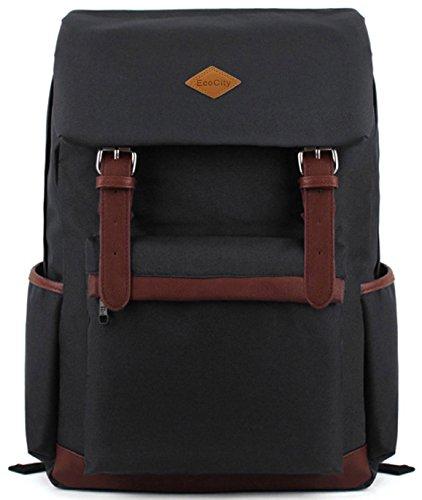 EcoCity - Zaino fashion vintage in tela, scuola viaggio o computer, BP0022B1 (nero)
