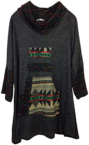 K-Milano Damen Sweatshirt, Sweatkleid, Tunika in Ethno-Look mit Schal-Kragen und Känguruhtaschen, Made IN Italy