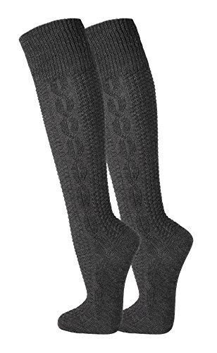 TippTexx24 ® 2 Paar zünftige Kniebundhosen-Strümpfe (Anthrazit, 43-46)
