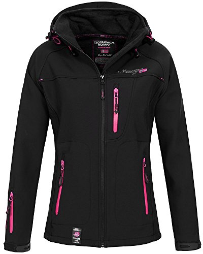 Geographical Norway Damen Softshelljacke Tfila mit Kapuze- Gr. 5/XXL, Black