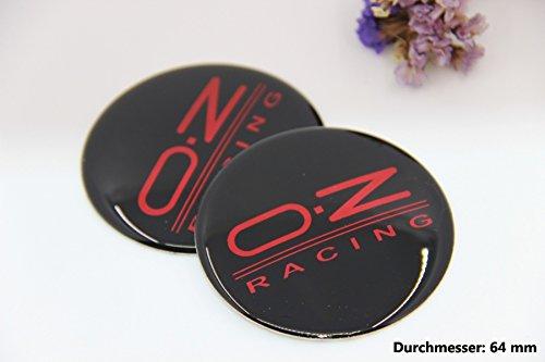 R301 OZ 2 stück Felgendeckel 3D Emblem Abziehbild Auto Aufkleber Nabendeckel Radkappen Nabenkappen 64 mm schwarz