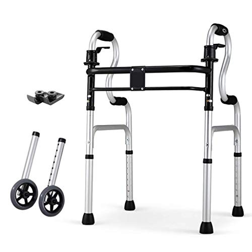 JHDPH3 Walker Ancianos lti-Funcional Bastón 4 Patas Auxiliar Walker aleación de Aluminio de Material Plegable for Marcha asistida de Ancianos y de Entrenamiento Deportivo de Rehabilitación