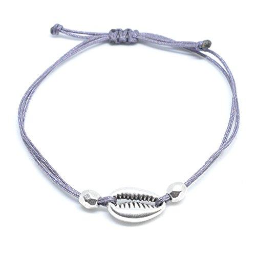 Selfmade Jewelry ® Muschel Armband Silber - Grau Kauri Cowrie Shell Armkettchen größenverstellbar Handmade Schmuckstück Damen Frauen Mädchen inkl. Geschenkverpackung (Silber - Grau)