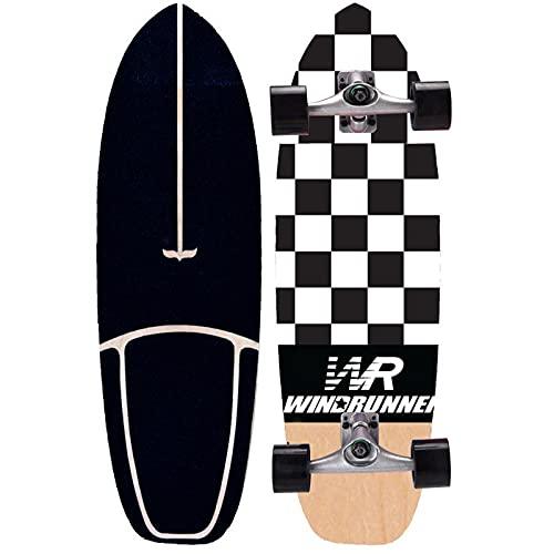 Carver Surfskate Adultos 75×23cm Skateboard Completa para Niños Adolescentes Principiantes Deck de Madera de Arce, Maniobrable Kick Tail Fancy Board Monopatín, Rodamientos ABEC-11, CX4 Truck