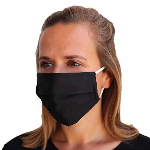 LIEVD Behelfsmaske Schwarz M wiederverwendbar I waschbare Gesichtsmaske aus 100% Baumwolle Öko-Tex 100 | Made in Germany I 2-lagige Stoff Mund Nasen Maske, Alltagsmaske, Mundschutz