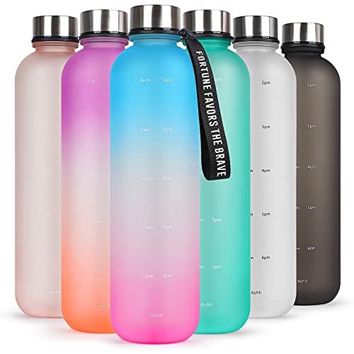 HASAGEI Trinkflasche 1L - Wasserflasche Sport BPA Frei mit Zeitmarkierung als Trinkflasche kohlensäure geeignet, Sportflasche aus Tritan für Sport, Outdoor, Büro, Schule (Lila Blau Farbverlauf)