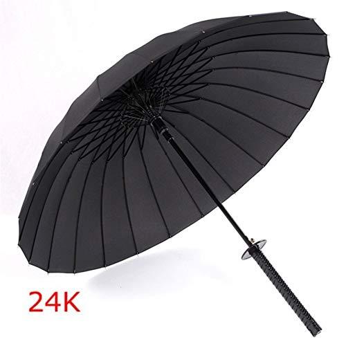 Regenschirm Kreative Stiel Große Winddichtes Samurai-Schwert Regenschirm-Japaner Ninja-Like Sonne Regen Gerade Umbrella-Handbuch öffnen (Color : 24K)