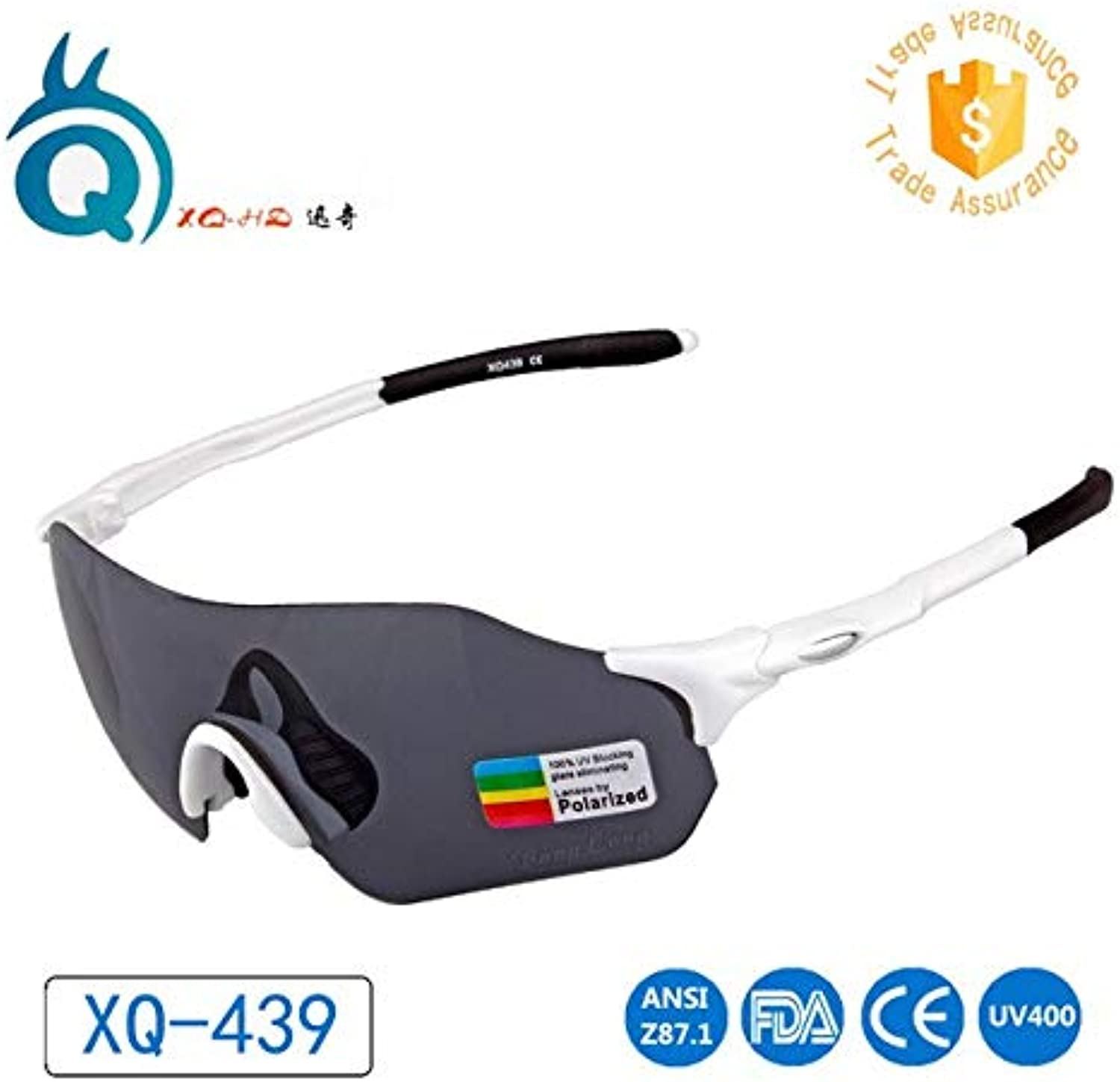 White-TAC Grey   TR90 Frame Large Size Polarized Lens TAC len UV400 Hiking Cycling Glasses Sports Sun Glasses
