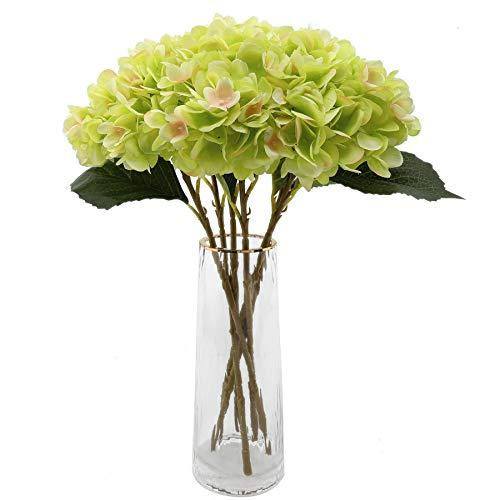 Decpro 6 Piezas de hortensias Artificiales, 18,9'' de Flores de Seda de hortensias de un Solo Tallo para Ramos de Novia, decoración de Fiesta de Hotel de Oficina en casa, centros de Mesa (Verde)