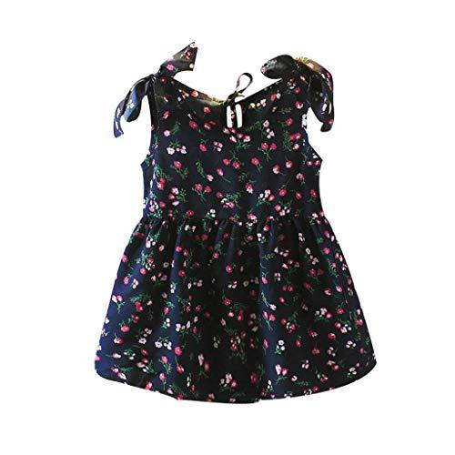Janly Clearance Sale Vestido para niñas de 0 a 10 años de edad, bebé niña sin mangas, lazos, vestido floral, vestido de princesa, es, azul marino, 18-24 meses