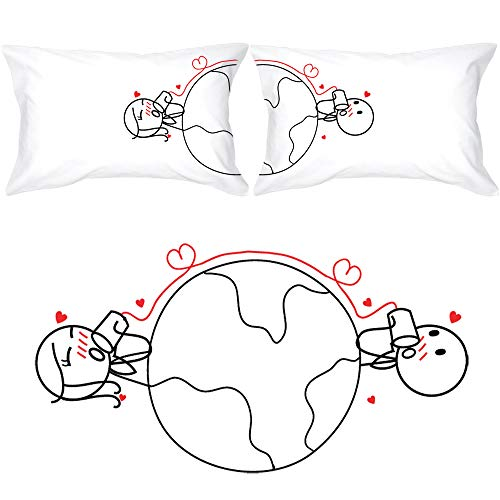 BOLDLOFT Love Has No Distance Couples Pillowcases-Long Distance Relationships Gifts,Long Distance Gifts for Couples,Valentines Day Gifts for Him for Her,His and Hers Gifts,LDR Gifts