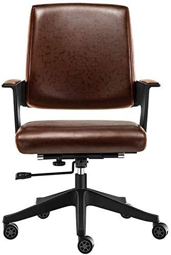 G.S.N. GSN Executive Neigungswinkel Stühle Swivel Computer Büro, Middle Zurück Executive PU-Leder Lehnstuhl 360-Grad-Drehung Rotbraun Kippfunktion Stuhl Bürostuhl Sessel