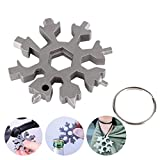 18-in-1 Snowflake Multi-Tool Multitool Card Combination Compact Stainless Steel Screwdriver Portable Outdoor Products Snowflake Tool Card Christmas Gift New Year's Gift(1PACK/Silver)