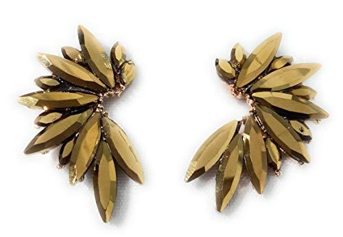 Pendientes cristales coloridos mujer alta bisutería fiesta, chapado oro dorado