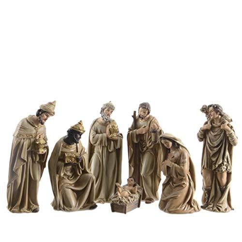 KAE - Set presepe Natalizio con Personaggi Tradizionali in poliresina, 6 Motivi Disponibili 7 x Trad Oro Chiaro 20 cm