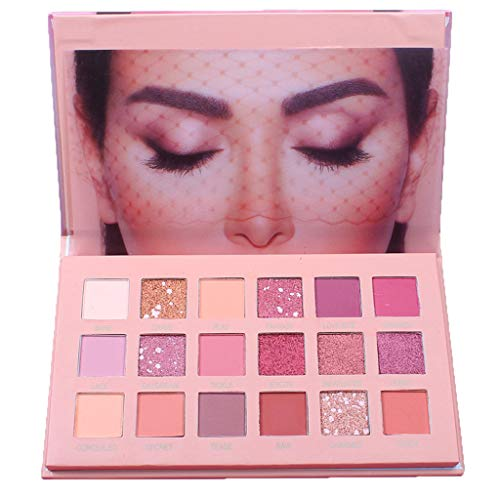 Frashing 18 Farben Lidschatten Rosa Make-Up Lidschatten-Palette Glitzer Schimmer Und Glanz Lidschatten-Aufkleber Metallic Eyeshadow Wasserfestes Augen Make Up Blush Highlighter