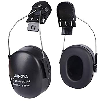 UNINOVA Noise Cancelling Ear Muff for Hardhat - Hearing Protection ANSI NRR 24dB  NRR 24dB Black