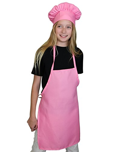 Kids Apron and Chef Hat Set. Adjustable Hat. Fits Childs Size Medium 6-12. (Lt. Pink) - Free eBook