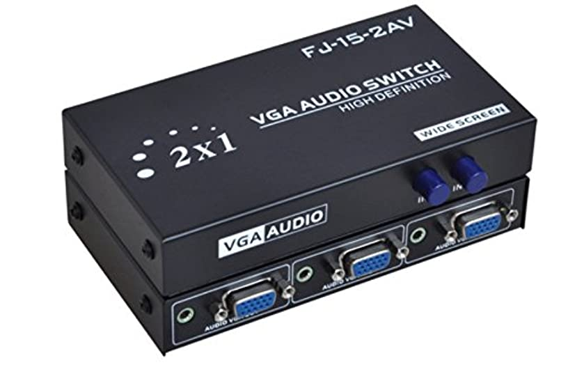 C-Zone 2 Port VGA Audio Video Switch 2x1 SVGA Switcher Box 2 IN 1 OUT PC Monitor LCD TFT Sharing