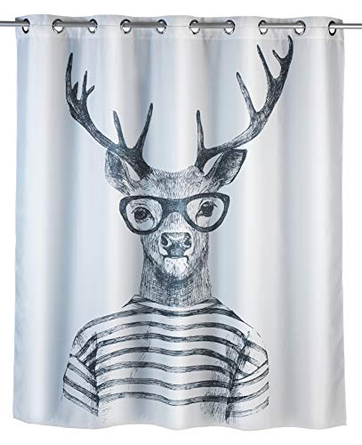 WENKO Anti-Schimmel Duschvorhang Mr. Deer Flex - Anti-Bakteriell, wasserabweisend, Textil, waschbar, schimmelresistent mit integrierter Hängeeinrichtung, Polyester, 180 x 200 cm, Weiß