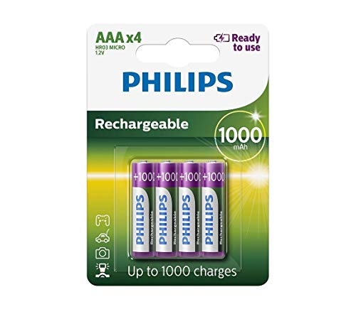 PHILIPS R03B4RTU10/10 Batteries and Lamps 42 x 10.5 x 44.5 mm, Set of 4