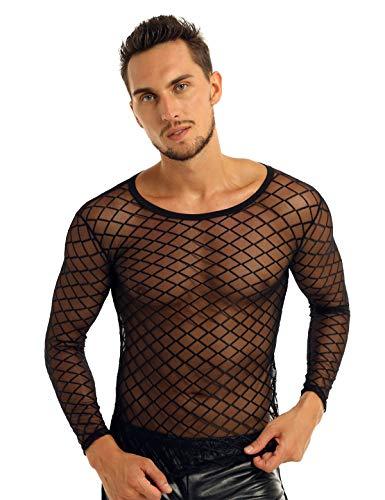 inlzdz Men's See Through Mesh Fishnet Long Sleeve Fitted Muscle Tops Club Wear T-Shirt Black Medium