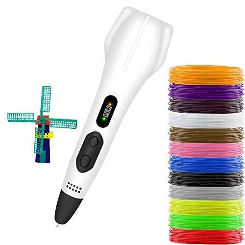 3D-Druckstift mit Anzeige, mit 12 Farben Filament, DIY-Druckstift, mit PLA & ABS, USB-Aufladung für Teenager & Erwachsene & Ersteller