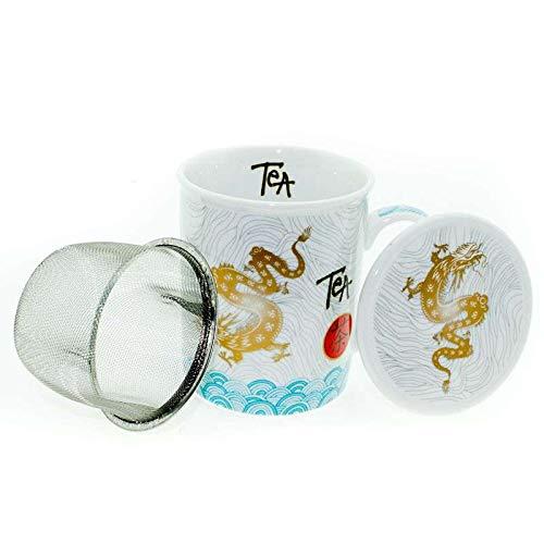 Aromas de Té - Tisanera Dragon Tea - Taza de Té con Filtro y Tapa - Tisana Infusiones - Infusor de Acero - Diseño Dragón - Apto Para Microondas y Lavavajillas - 0.25 l.