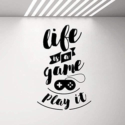 Oferta De Juego Calcomanía De Vinilo Para Pared Life Is A Game Play It Teen Room Pegatina De Videojuego Mural Inspirado Texto Arte Pegatina 42X66Cm