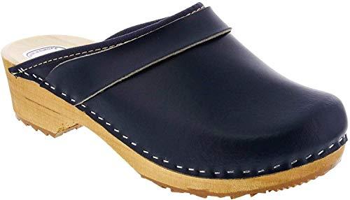 Bjork Maja Wood Open Back Leather Clogs (EU-40, Navy)