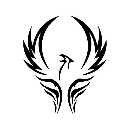 DYTE Auto Aufkleber 13,5 cm * 15,8 cm Cartoon Tier Phoenix Motorrad Aufkleber Auto Aufkleber Schwarz/Silber Dekoration