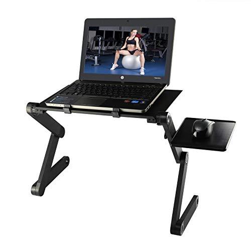 Diswoe ノートパソコンスタンド 高さ/角度調整可能 姿勢改善 放熱対策 アルミ製 PCスタンド PC/Mac Book/ラップトップ/iPad/タブレットに対応 折りたたみ式テーブル