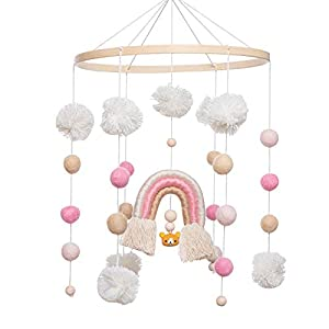 Baby Crib Mobile – MMH Rainbow Crib Mobile Wooden Mobile with Colorful Cotton Ball Wool Felt Ball Boho Baby Mobile Bassinet Mobile for Crib Toy Mobile for Baby Nursery Room Decoration (Pink Rainbow)