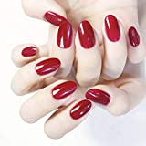 Jovono Glossy Press on Nails Red Long Oval Fake Nails Artificial Full Cover False Nails for Women and Girls (24PCS)