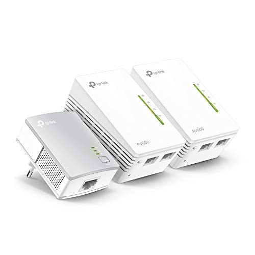 TP-Link TL-WPA4220 TKIT - Amplificador wifi Repetidores de Red, Adaptadores internet por Línea Eléctrica PLC AV600+AC300, 5 Puertos, Cable Ethernet (Pack de 3)