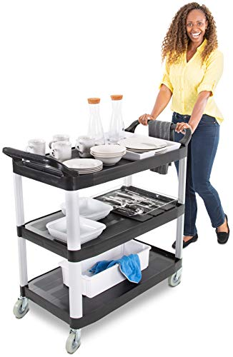 Tubstr Large Service Cart with Three Shelves | Dual Handles & Rolling Casters | Supports up to 300 lbs. | Utility Cart for Restaurants, Warehouses, Healthcare, Schools & More! (Black / 40.25 x 19.75)