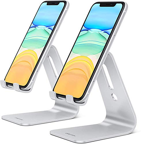 OMOTON Supporto per Telefono [2 Pack], Dock Cellulare in Alluminio per iPhone, Porta da Tavolo per iPhone 12, SE 2020,11 PRO, XS Max, XS, X, 8 e Huawei, Samsung S9, S8, S7, S6,S5, Argento e Argento