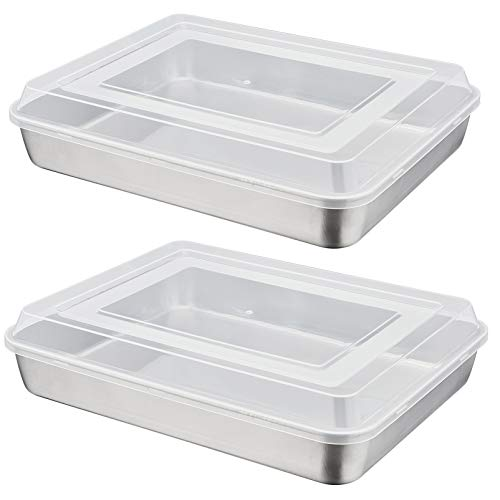 12.3 Inch Baking Lasagna Pan with Lid, P&P CHEF Rectangular Cake Pan Stainless Steel and Airtight Plastic Lids, Ideal for Cooking Reheating Roasting Baking Storing, Heavy Duty - Set of 4