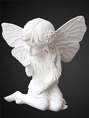 NBVCX Partes del hogar Mármol Hogar Jardín Decoración Boda Navidad Arrodillado Orando Querubín Estatuillas Figuras Interior Exterior Niño Alas Esculturas de ángel E