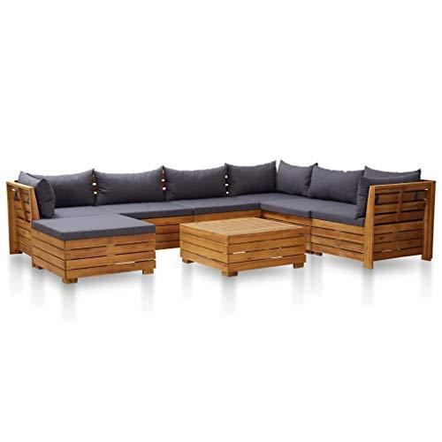 FAMIROSA Muebles de jardín 8 pzas y Cojines Madera de Acacia Gris Oscuro
