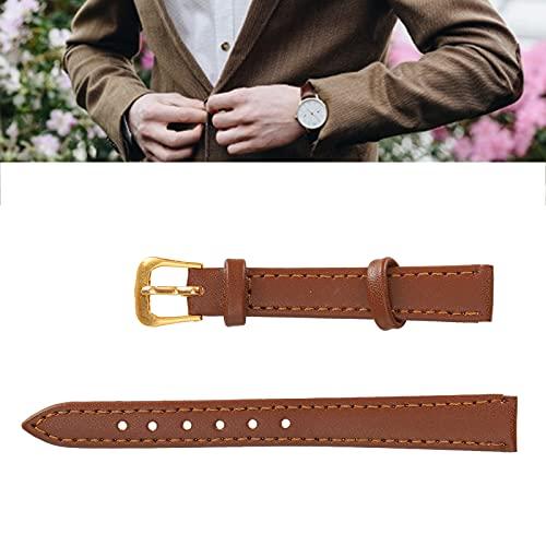 Qini Correa de Reloj con Hebilla de Pasador, cómoda Correa de Reloj de Cuero PU, Suave, Duradera, Resistente para Uso General para Uso Profesional(12mm Brown)