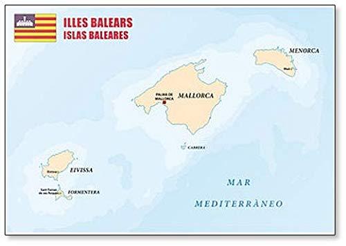 Mapa de las Islas Baleares con bandera – Imán clásico para nevera