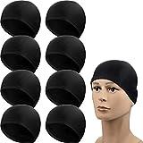 SATINIOR 8 Pezzi Cuffia da Nuoto in Nylon Uomo e Donna Tessuto Spandex Puro Nero Cappello da Nuoto per Adulti