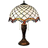 BINGFANG-W dormitorio Tiffany granos amarillos mesa lámpara de sombra de 16 pulgadas del estilo del vitral de Tiffany cubierta Habitación (40 cm) Vida de la lámpara lámpara de cabecera Lámpara de mesa